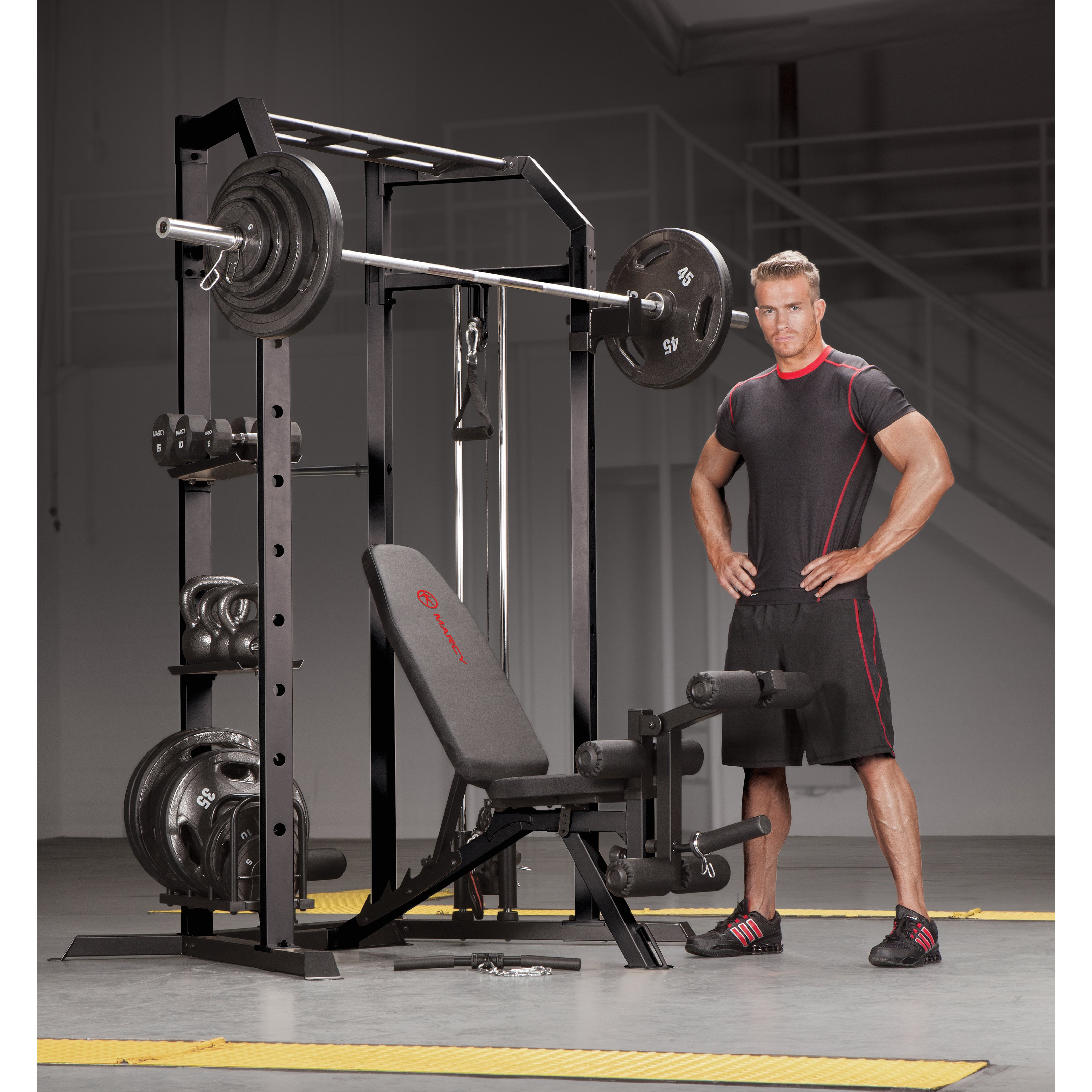 Marcy Utility Bench with Olympic-Strength Cage