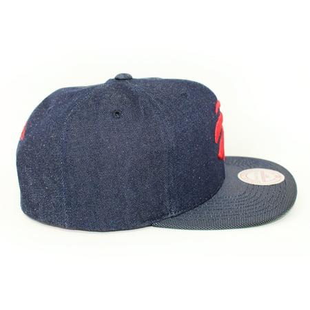 Mitchell and Ness Toronto Raptors Raw Denim PU Visor Blue Denim Snapback Hat - image 3 of 5