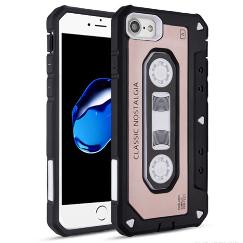 Rose Gold Classic Cassette Tape Dual Shock Case For Apple iPhone 7 / iPhone 8 Phone