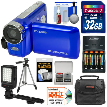 Bell & Howell DV200HD HD Video Camera Camcorder with Built-in Video Light (Blue) with 32GB Card + Batteries & Charger + Case + Tripod + LED Video Light + Kit (Hd Camcorder Flip)