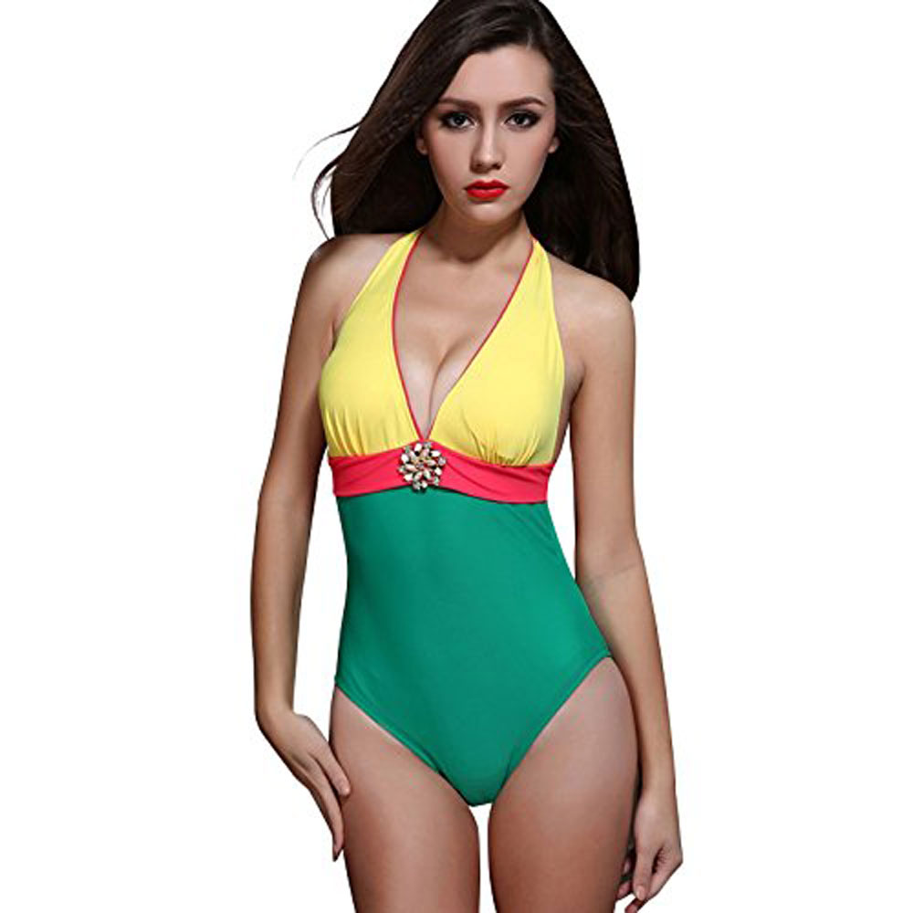 Foclassy Women's One Piece Swimwear With Halter Neck