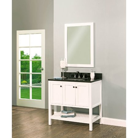 NGY Stone & Cabinet Hampton Bay 36'' Single Bathroom Vanity with Mirror Hampton Vanity Cabinet