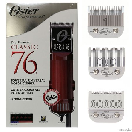 Oster Classic 76 Hair Clipper with Detachable #00000, 000 & 1 Blades (Oster Classic 76 Clipper Parts)