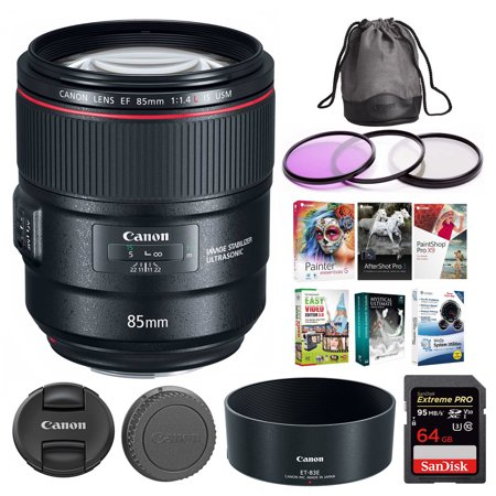 Canon EF 85mm f/1 4L IS USM Camera Lens w/ 62GB SD Card + Editing Software  Kit