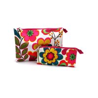 Clinique Floral Fuschia & Green Cosmetic Makeup Travel Bag, 2 Pcs