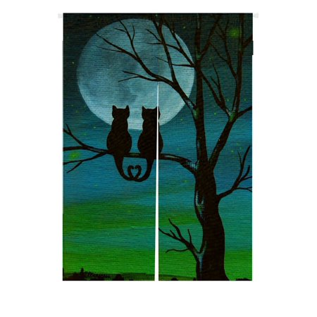 Night Door Curtain - GCKG Cute Cat Moon Night Doorway Curtain Japanese Noren Curtains Door Curtain Entrance Curtain Size 85x120 CM