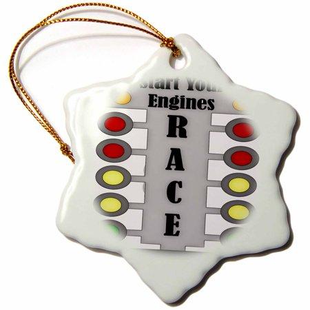 3dRose Car Race Start Your Engine Sign, Snowflake Ornament, Porcelain, 3-inch ()