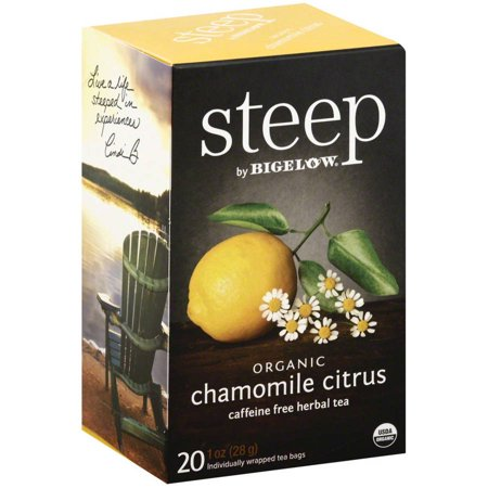 Steep par Bigelow organique Camomille Citrus caféine sacs à base de plantes de thé, 20 count, 1 oz, (Pack de 6)
