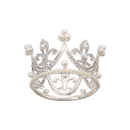 Super Mini Circle Round Pearl Crown for Bridal Princess, Rhinestone Tiaras And Crowns for Little Girls (Pearl Tiara)
