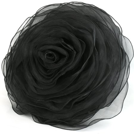 Ruffled Rose Decorative Pillow Throw Deluxe Flower Shape Chiffon Stunning Round Decorative Bed Pillows