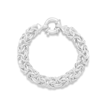 - Oval Byzantine Bracelet Sterling Silver 12mm Wide
