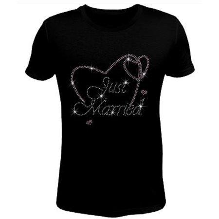 Bling Rhinestone Womens T Shirt Just Married Heart JRW-135