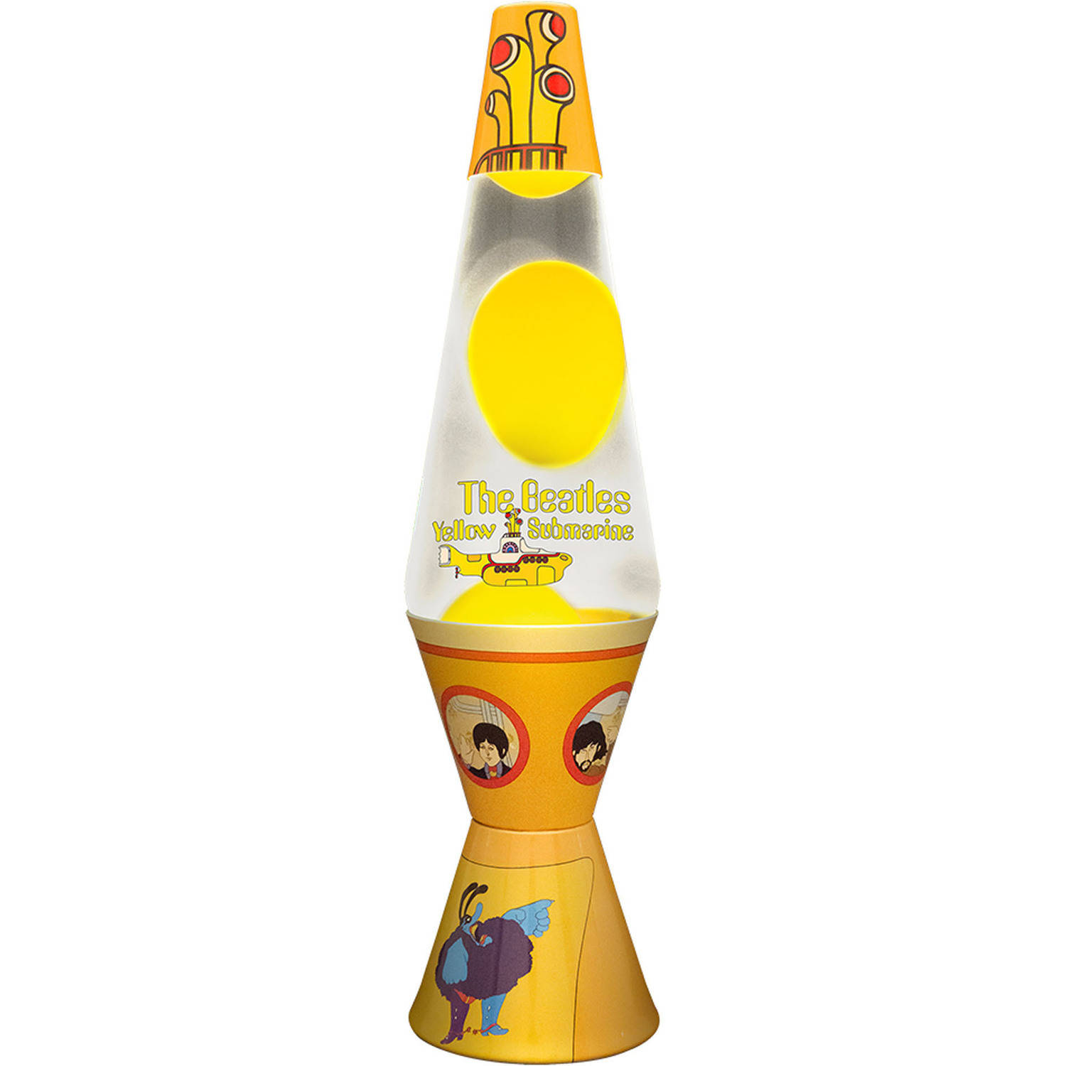 "2164 14.5"" beatles yellow submarine lava lamp, yellow wax / clear"