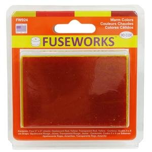 Warm Colors 90 Coe Fusible Glass Sheets, By Fuseworks From USA