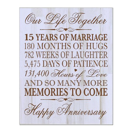 15th Wedding Anniversary Wall Plaque Our Life Together 12x15