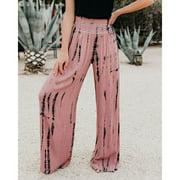 Women Trousers Wide Leg Pants Summer Casual Elastic High Waist Printed Trousers Pants Loose Belt Elasticated Trousers