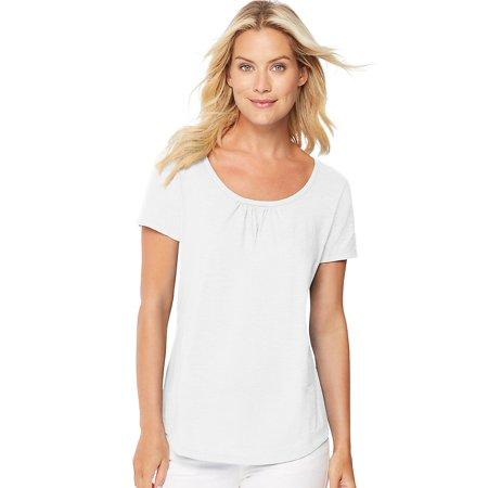 e1ea1488836 Hanes - Hanes Women s Short-Sleeve Shirred Scoop-Neck Tee