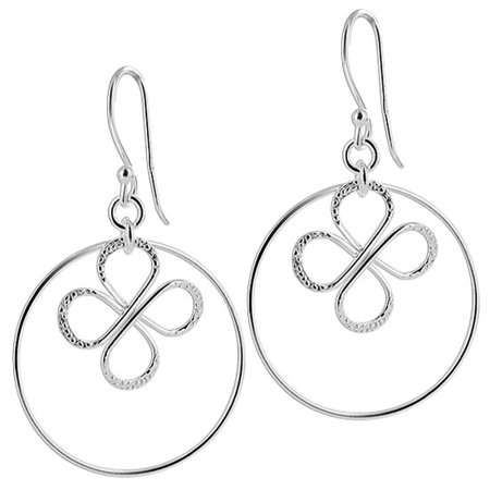 Gem Avenue 925 Sterling Silver Hoop with Textured Butterfly Dangle Earrings French Ear Wire