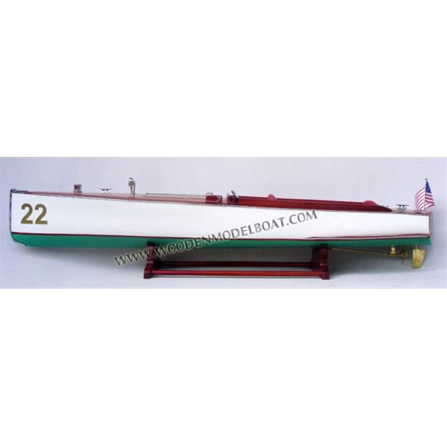 Gia Nhien SB0089P Charles D. Mower Number Speed Boat 22 Wooden Model Speed Boat by Gia Nhien