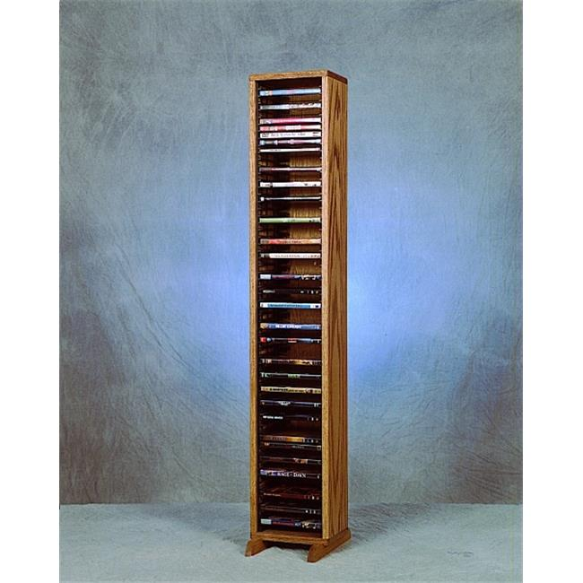 Wood Shed 110-4 DVD Solid Oak Tower for DVDs - Individual Locking Slots
