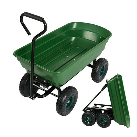 Karmas Product Garden Dump Utility Wagon Cart-550 LB Weight Capacity Multifunctional Wheelbarrow Sturdy Plastic Yard Lawn Cart for Wood and Cargo Carrier Atv Poly Dump Cart