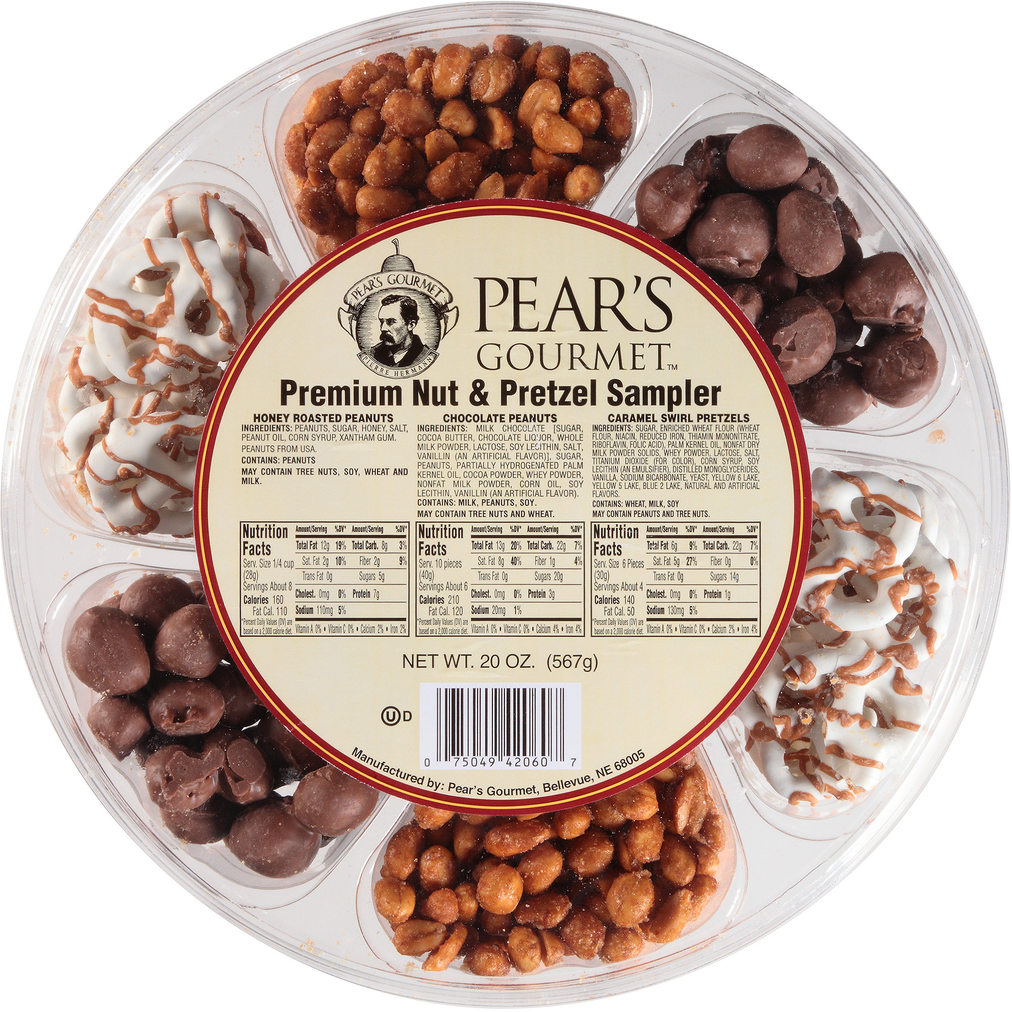 Pear's Gourmet Holiday Premium Nut & Pretzel Sampler Gift, 20.5 oz
