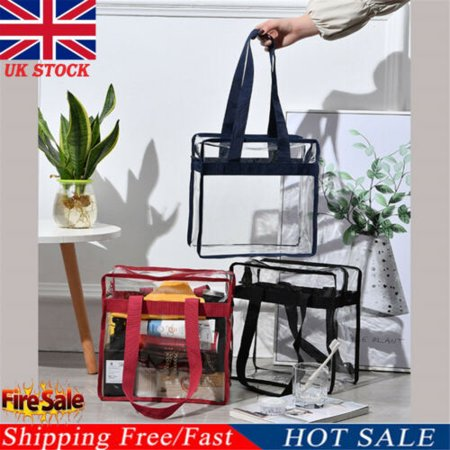 Fashion Women Clear Plastic Tote Bag Women Transparent PVC Handbag Zip Purse ()