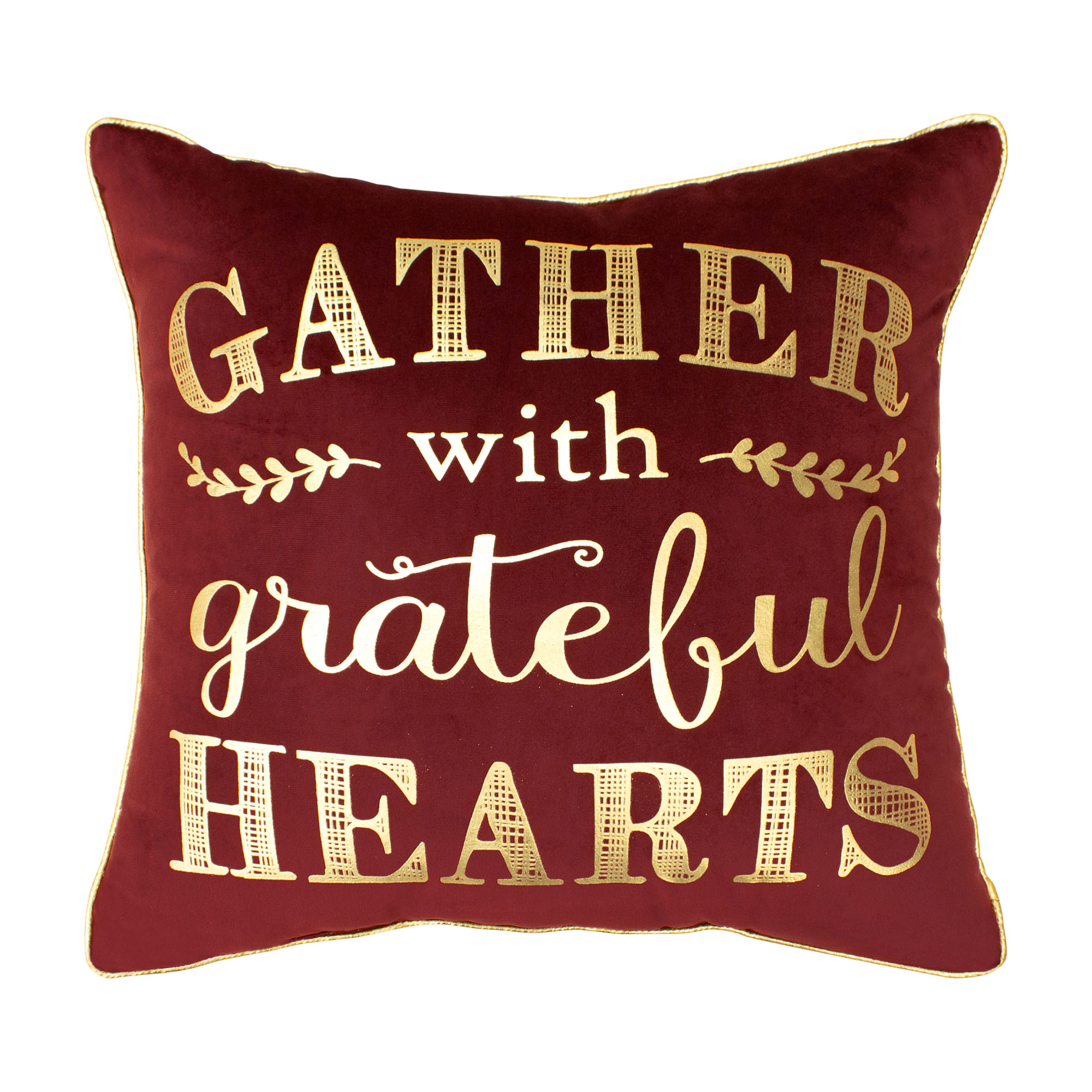 Gather with Grateful Hearts Velvet Thanksgiving Pillow