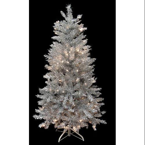 4.5' Pre-Lit Silver Laser Tinsel Artificial Christmas Tree - Clear Lights