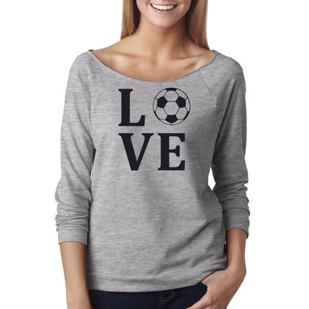 Love Soccer Sports Jersey Off The Shoulder French Terry Top