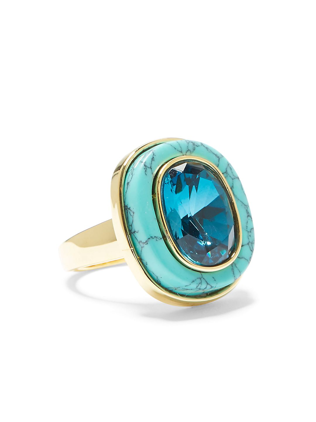 Blue Ombré Crystal Statement Ring