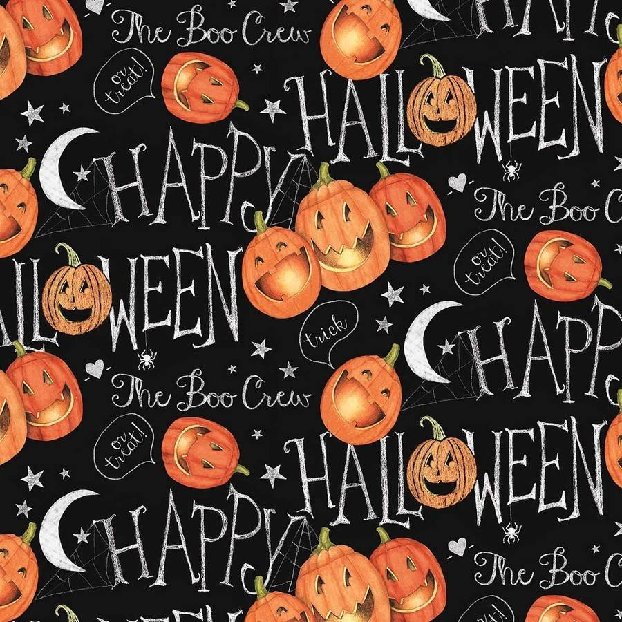 "Halloween The Boo Crew Pumpkins, Black, 100 Percent Cotton, 43/44"" Width, Fabric by the Yard"