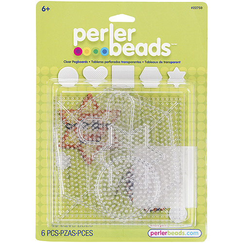 Perler Clear Pegboard Set, 5-Pack, Small/Large Basic Shapes