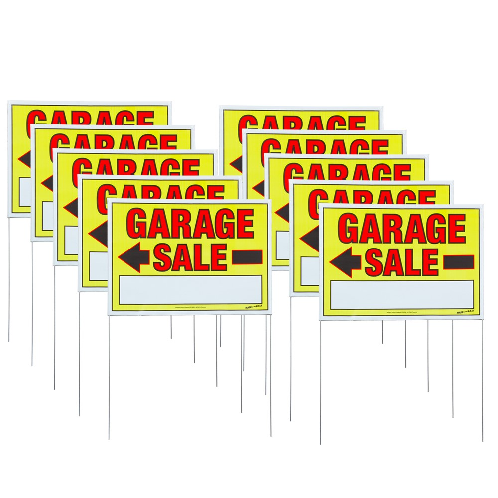 Sunburst Systems 10 Pack of Large Double-Sided Garage Sale Sign with Metal U-Stakes