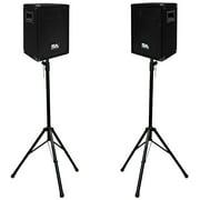 "Seismic Audio PAIR 8"" PA/DJ SPEAKERS & Tripod Stands ~Karaoke Church - SA-8PKG1"