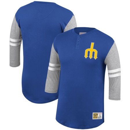 best service d6d6a 5b1ba Seattle Mariners Mitchell & Ness 3/4-Sleeve Henley T-Shirt - Royal