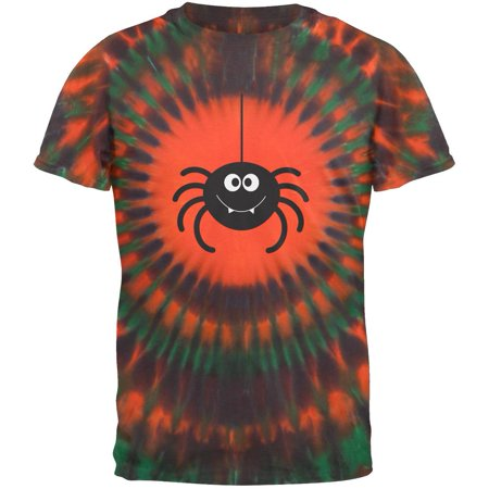 Happy Spider Halloween Orange Tie Dye Adult T-Shirt