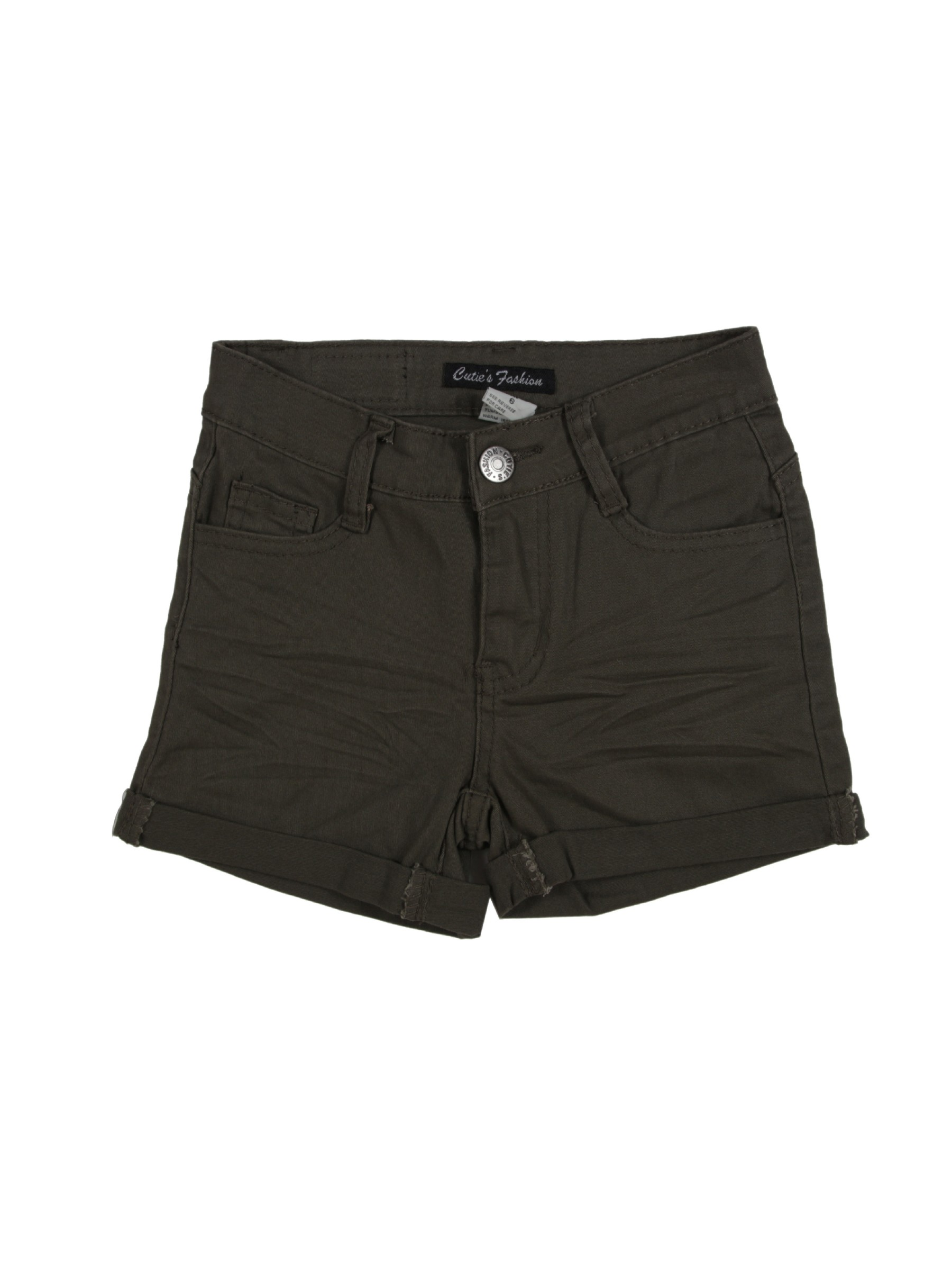 Girls' Stretch 5 Pockets Basic Colored Roll-up Shorts