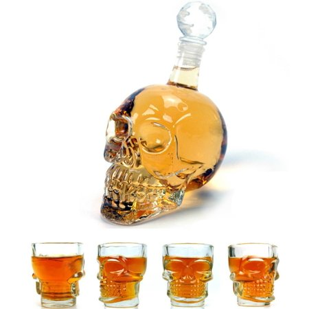 Wine Decanter Set Skull Carafe with Stopper, Set of 5 (1 Large Skull Face Decanter with 4 Skull Shot Glasses) Great Whiskey, Scotch and Vodka Shot Glass Set Best Whisky Beer Wine Drinking (Best Vodka Drinks To Order At A Bar)
