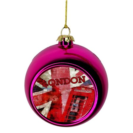 London Watercolor Grunge Art Bauble Christmas Ornaments Pink Bauble Tree Decoration