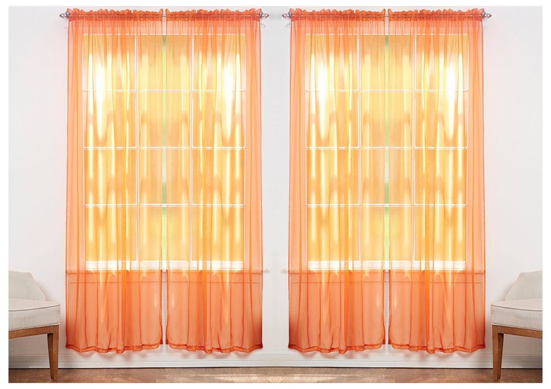 4 Pack Sheer Voile Curtain Panels Assorted Colors Orange Walmart Com Walmart Com