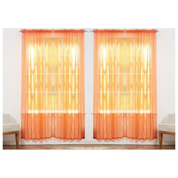 4 Pack Sheer Voile Curtain Panels, Sheer Orange Curtains