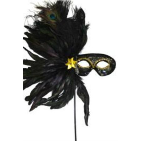 Black Feather Stick Mask Masquerade Ball Mardi Gras Sequin Fabric - Mardi Gras Mask On A Stick