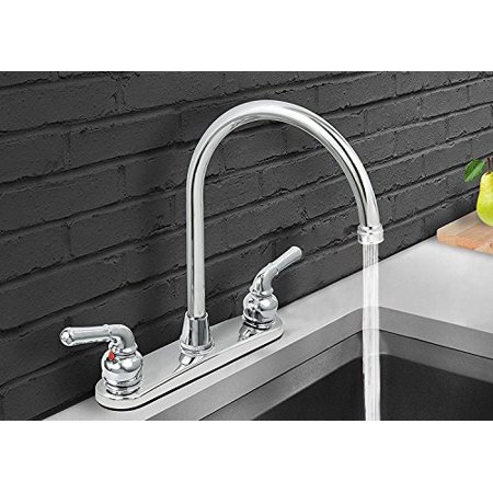 Brass Swivel Gooseneck (M.House 8001 2-Handle 8-Inch Waterfront Kitchen Faucet Brass Body Polished Chrome Gooseneck High Arc Swivel Spout)