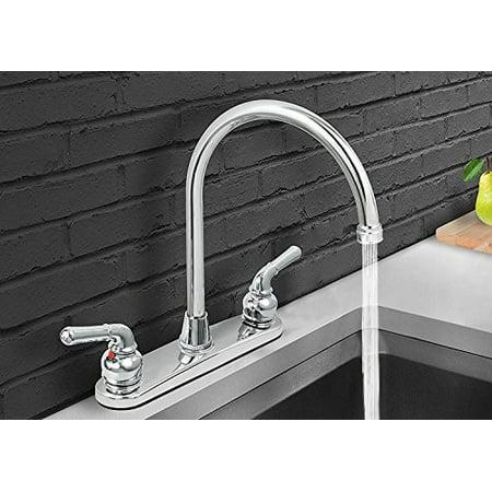 M.House 8001 2-Handle 8-Inch Waterfront Kitchen Faucet Brass Body Polished Chrome Gooseneck High Arc Swivel Spout