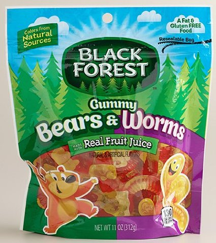 6 PACKS : Black Forest Gummy Bears & Worms, 11 oz bag by