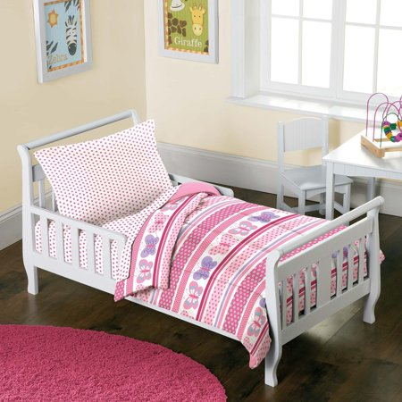 innovative toddler girl bedroom sets | Butterfly Dots Pink Girls 4-Piece Toddler Bedding Set, 4 ...
