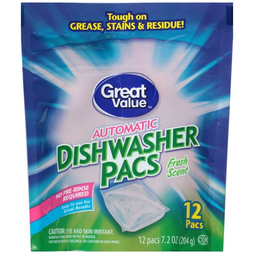 Great Value Automatic Dishwasher Pacs Fresh 12 Count