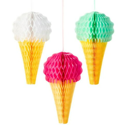 Talking Tables Ice Cream Hanging Decorations, 8in, 3ct - Ice Cream Themed Decorations