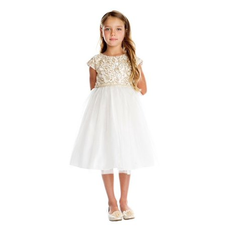 little girls off white gold cord embroidered christmas dress 2 6 - White Christmas Dress